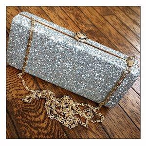 Deux Lux Silver Glitter Rock Candy Clutch Bag